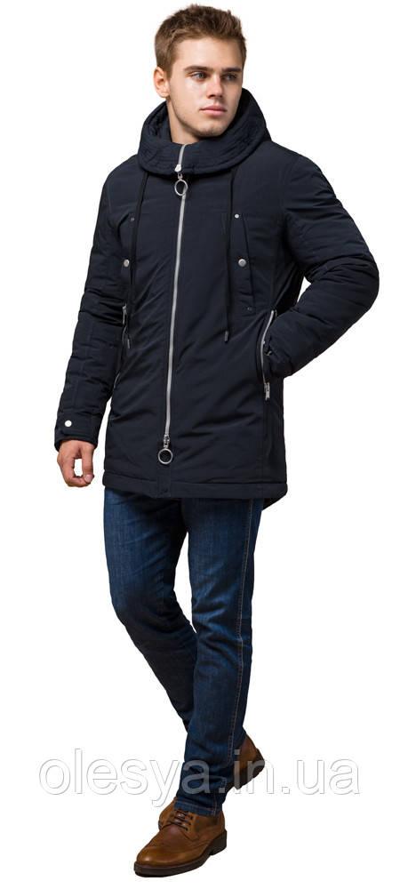 Мужская зимняя парка темно-синего цвета модель 28431