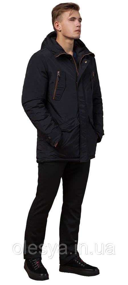 Мужская парка черная зимняя с кулиской модель 48560