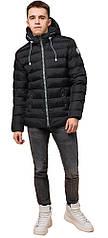 Подростковая зимняя черная куртка на прорезиненной молнии модель 76025