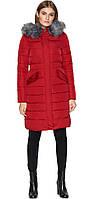 Куртка женская бордовая зимняя длинная модель 8606