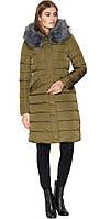 Куртка зимняя комфортная женская цвета хаки модель 8606