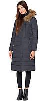 Серая удлиненная куртка женская зимняя модель 9615