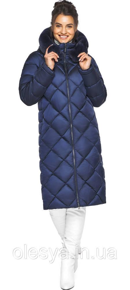 Синяя куртка женская теплая зимняя модель 31046