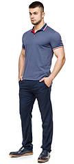 Футболка поло мужская качественная цвет джинс модель 6584