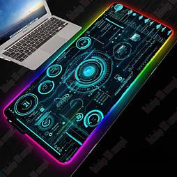 Большой геймерский RGB коврик с подсветкой для мыши 30 * 80 см