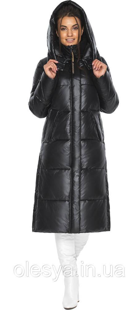 Куртка женская черная зимняя с капюшоном модель 41565