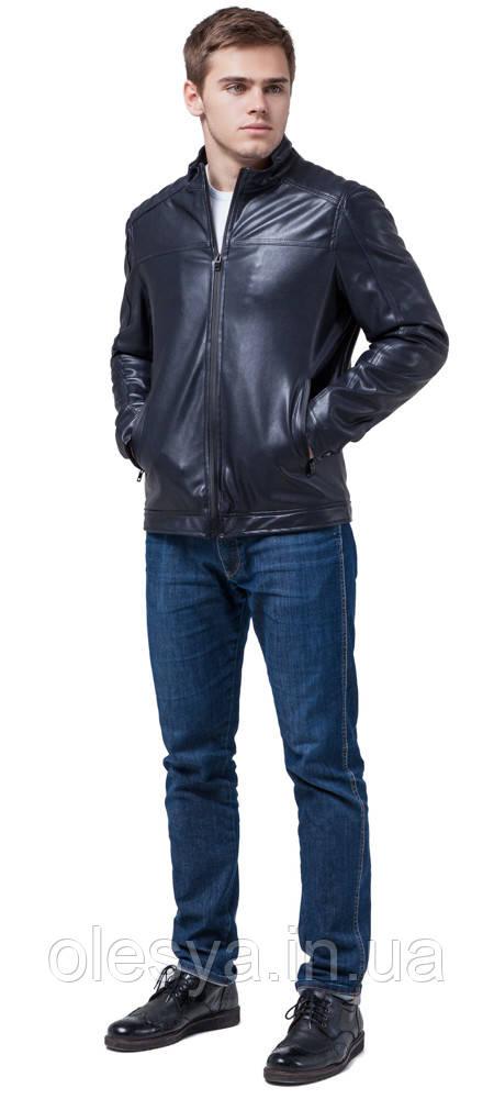 Мужская осенне-весенняя куртка легкая темно-синяя модель 4834