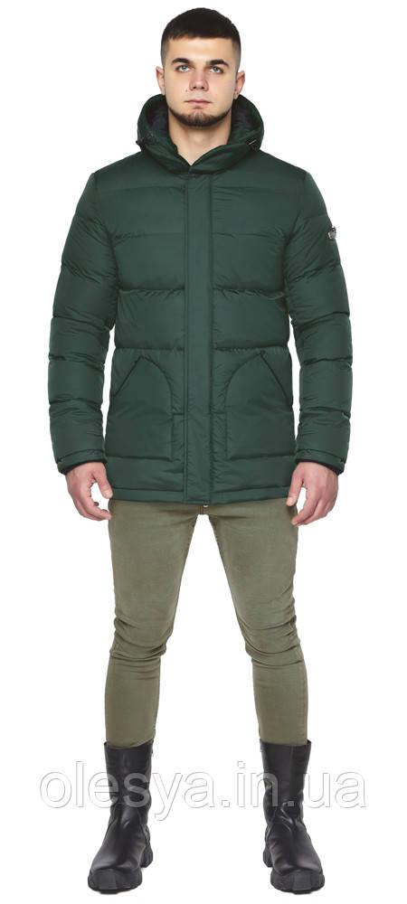 Темно-зеленая куртка зимняя мужская с удобными карманами модель 27544