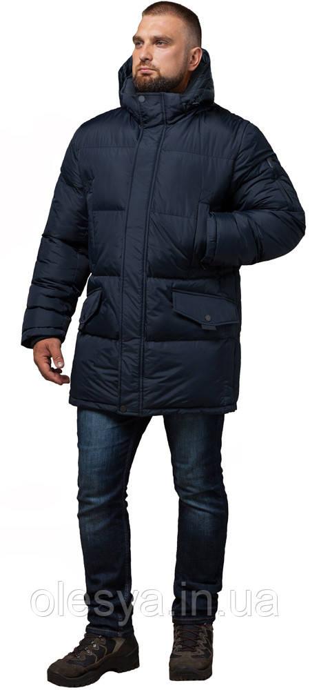 Зимняя мужская стильная куртка большого размера цвет темно-синий модель 3284