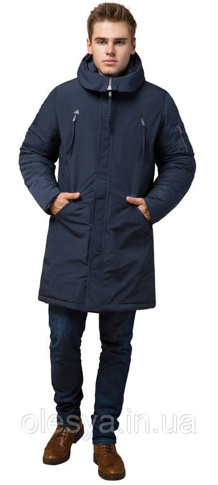 Зимняя мужская парка с удобными карманами синяя модель 23675