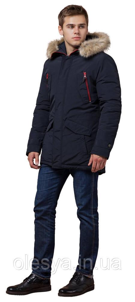 Мужская парка с внешними карманами синяя зимняя модель 37560