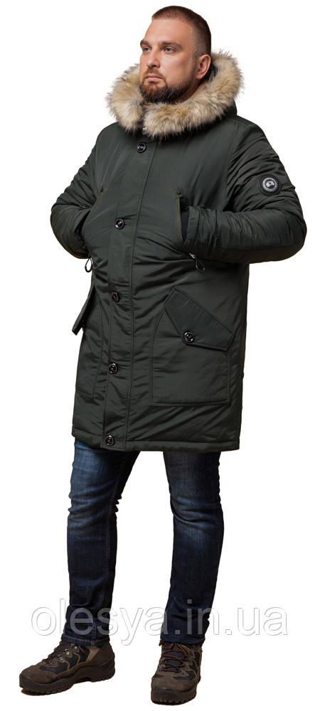 Парку чоловіча зимова оригінальна кольору хакі модель 91660