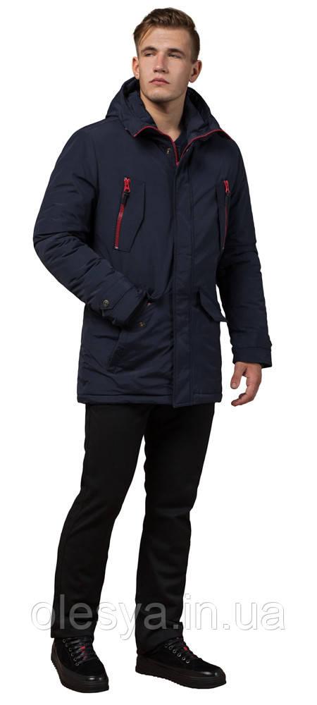 Парка синяя мужская прямого кроя зимняя модель 48560