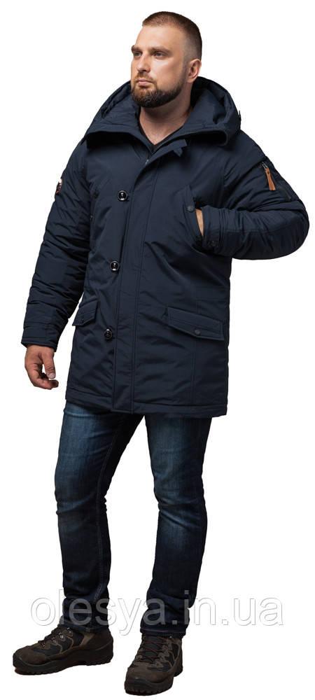 Темно-синяя парка прямого силуэта мужская зимняя модель 2694