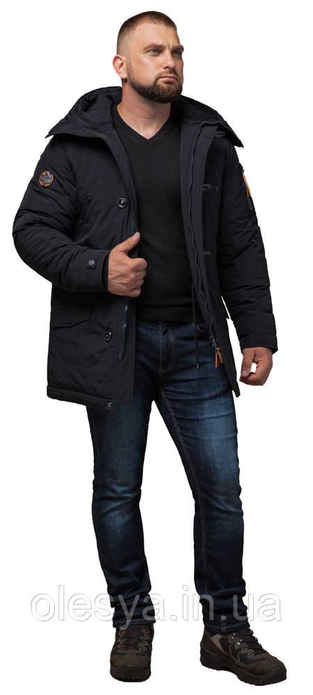 Мужская черная парка зимняя с капюшоном модель 2694