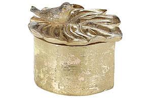 Шкатулка для прикрас Монстера з пташкою, 12см, колір - золото(440-830)