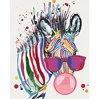 """Яркая картина раскраска по номерам Животные, птицы """"Яркая зебра"""" 40х50 см KHO4071 живопись рисование в цифрах"""