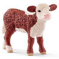 Пластиковая фигурка Schleich Герефордский теленок 7,6 х 2,3 х 5,3 см игрушки для мальчика девочки детские