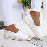 Стильные молодежные текстильные женские белые слипоны мокасины лоферы эспадрильи, фото 6