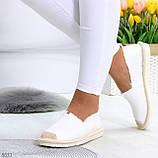Стильные молодежные текстильные женские белые слипоны мокасины лоферы эспадрильи, фото 9