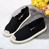 Стильные молодежные текстильные женские черные слипоны мокасины лоферы эспадрильи, фото 8