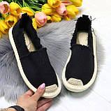 Стильные молодежные текстильные женские черные слипоны мокасины лоферы эспадрильи, фото 10