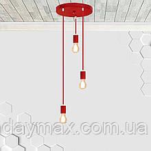 Потолочный подвеснаой светильтник на 3-лампы CEILING-3G E27 на кругу, красный