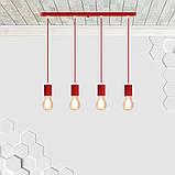 Подвесной светильник на 4-лампы CEILING-4 E27 красный, фото 3