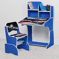 Парта W 2071-84-2 (1шт) регулир-я высота(4полож),со стульчиком,столешница69-47см,синий, машина
