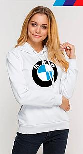Худи женский с капюшоном  на флисе с принтом BMW