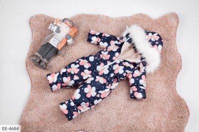Костюм с мехом детский зимний с цветочками синий SKL11-260872