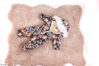 Детский зимний комбинезон с цветочками черный SKL11-260903