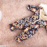 Детский зимний комбинезон с цветочками черный SKL11-260903, фото 2