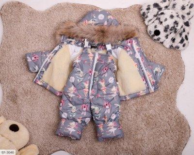Детский зимний костюм с мехом серый SKL11-260904