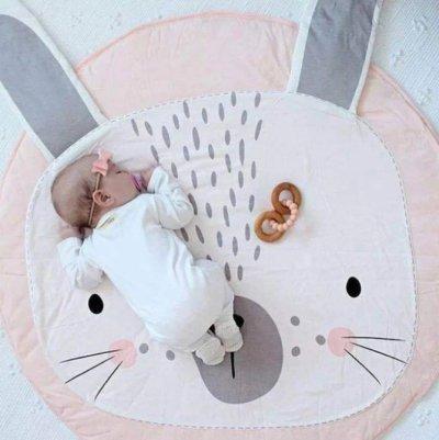 Одеяло коврик в детскую комнату Розовый Зайка SKL32-218574