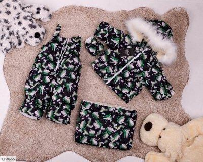 Детский зимний комбинезон тройка черный SKL11-260911