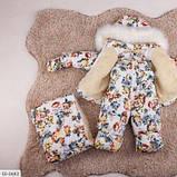 Детский зимний комбинезон тройка с принтом белый SKL11-260916, фото 2