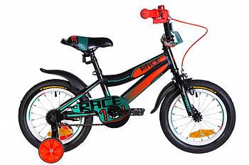"""Детский двухколесный велосипед 14"""" с дополнительными колесами Formula RACE Черный (OPS-FRK-14-012)"""