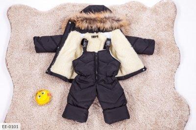 Детский зимний костюм с мехом черный SKL11-260938
