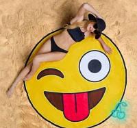 Пляжный коврик 3D - смайлик | селфи коврик | пляжная подстилка | пляжное покрывало | пляжное полотенце