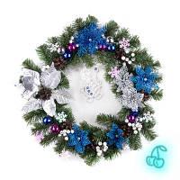 Рождественский венок 50см Серебряная Роскошь 9236
