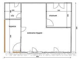 Будинок 6м х 8м з внутрішньої терасою 4м х 2м