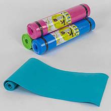 Йогамат, килимок для фітнесу, пілатесу, зарядки не ковзний, для дорослих і дітей С 36548 (4 кольори)