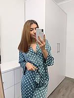 Женская пижама из шелка на пуговицах с принтом горох