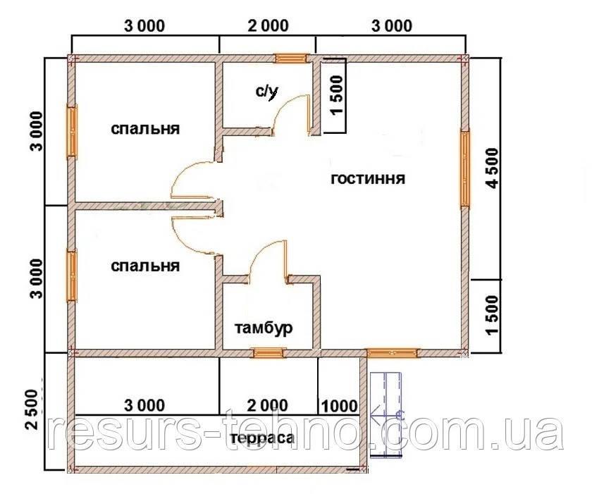 Будинок 6м х 8м з прибудованою терасою