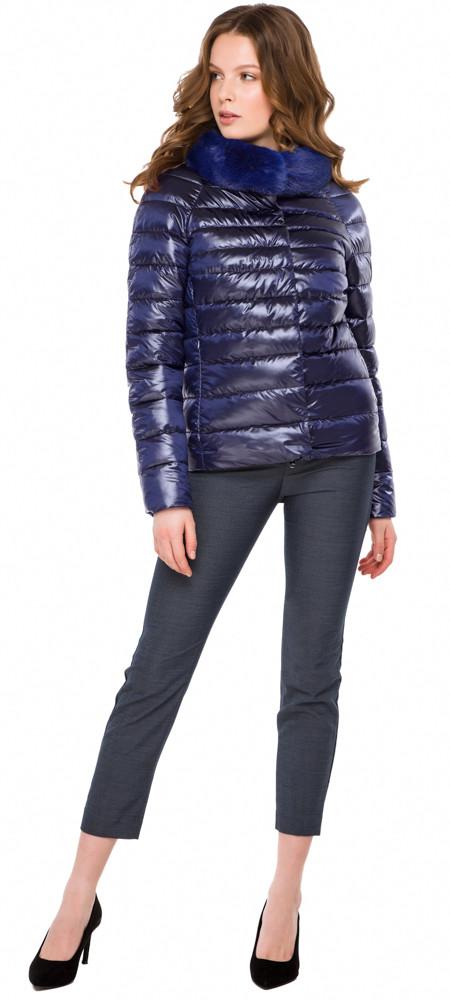 Фиолетовая женская куртка на молнии осенне-весенняя модель 40267