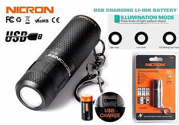 Карманный фонарь Nicron B10+Аккумулятор 16340 (200LM, Cree XP -E2 R3, USB) мини фонарик с роторным управлением