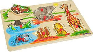 Деревянная игрушка Рамка-вкладыш MD 2686-1 (Животные Африки) с ручкой