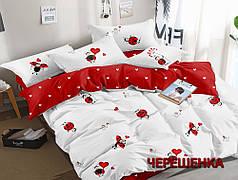 Полуторный набор постельного белья 150*220 из Сатина №1068AB Черешенка™