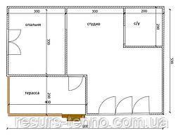 Будинок 6м х 8м з терасою